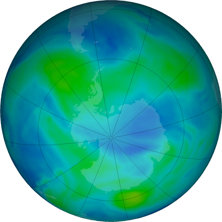 Antarctic ozone map for 06 March 2021