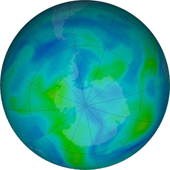 Antarctic ozone map for 13 March 2021