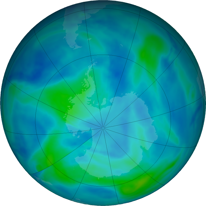 Antarctic ozone map for 16 March 2021