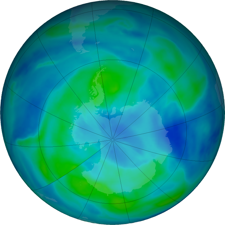 Antarctic ozone map for 18 March 2021