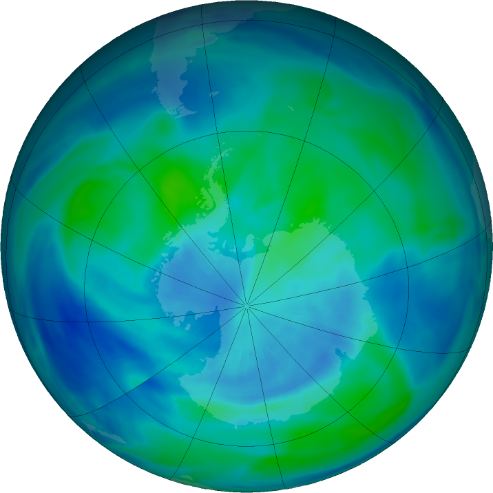 Antarctic ozone map for 27 March 2021
