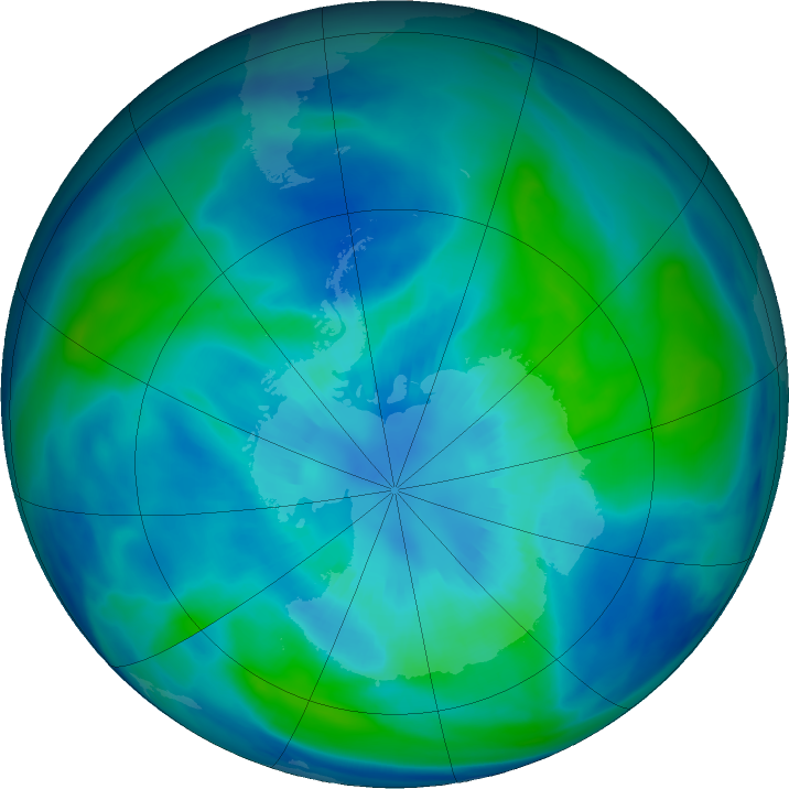 Antarctic ozone map for 01 April 2021