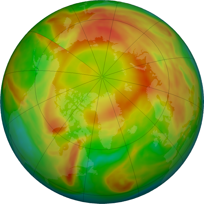 Arctic ozone map for 03 April 2021
