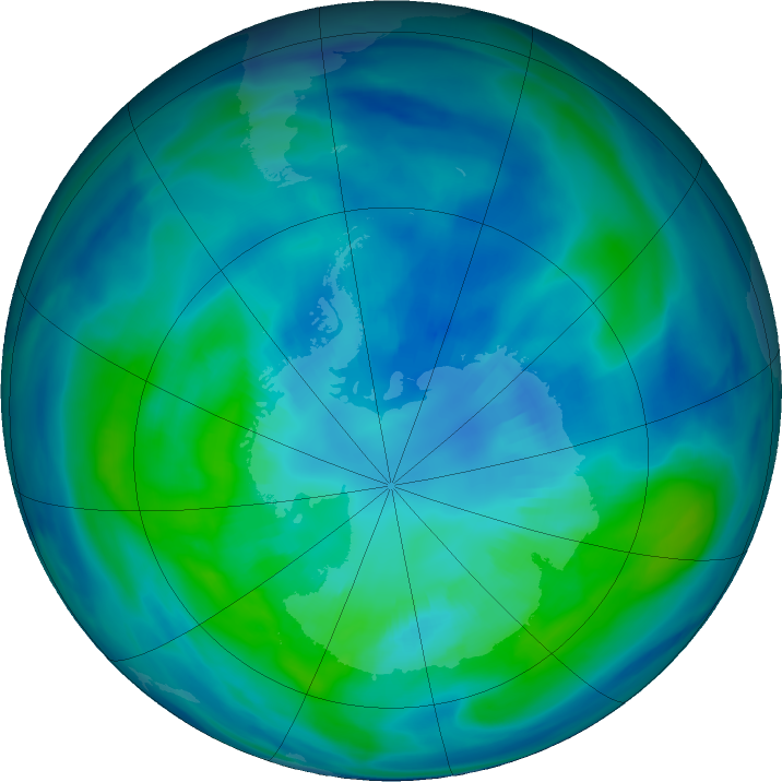 Antarctic ozone map for 08 April 2021