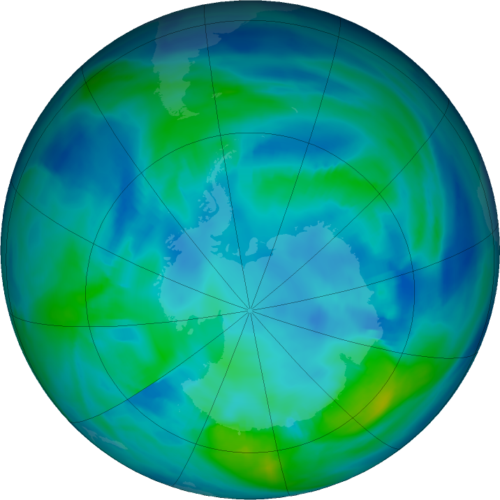 Antarctic ozone map for 02 May 2021