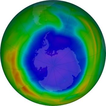 Antarctic ozone map for 2021-09-13