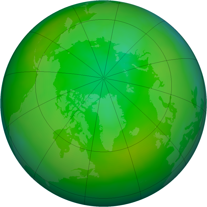 Arctic ozone map for July