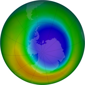 Antarctic ozone map for 10