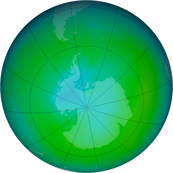 Antarctic ozone map for February 1979