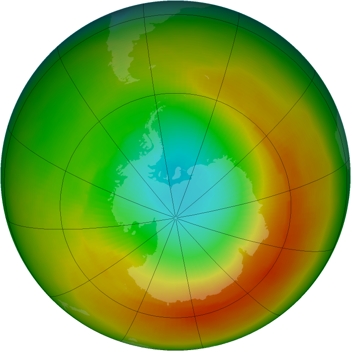 Antarctic ozone map for October 1979