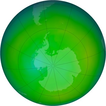 Antarctic ozone map for 1980-01