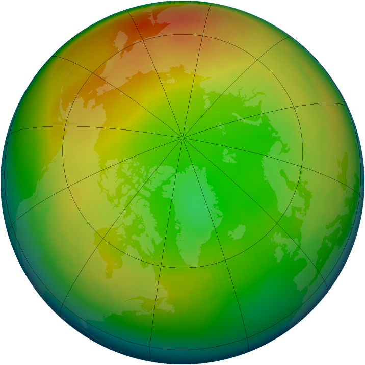Arctic ozone map for January 1980