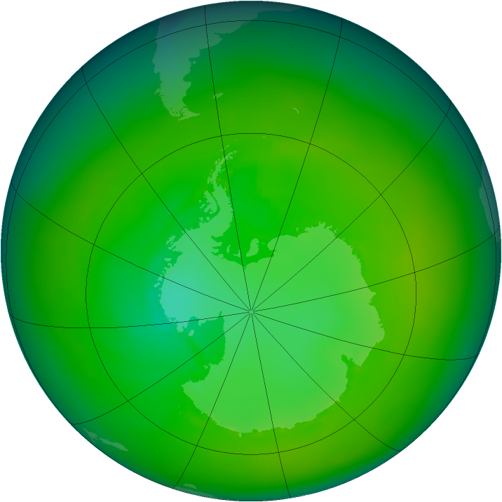 Antarctic ozone map for January 1980