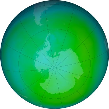 Antarctic ozone map for 1980-03