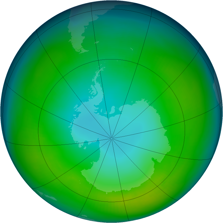 Antarctic ozone map for May 1980