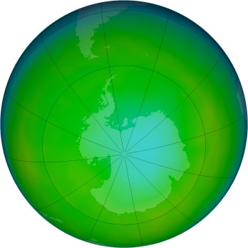 Antarctic ozone map for 1980-06