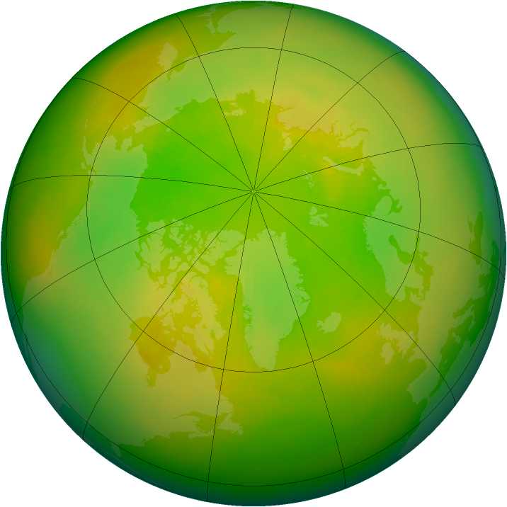 Arctic ozone map for June 1980