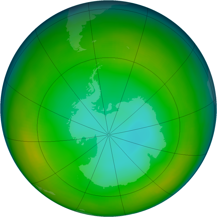 Antarctic ozone map for July 1980