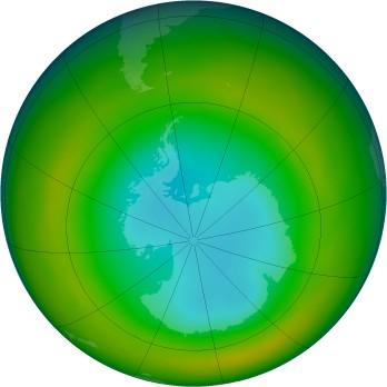 Antarctic ozone map for 1980-08