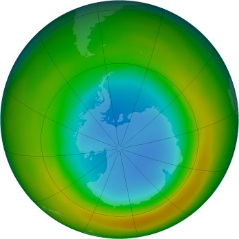 Antarctic ozone map for 1980-09