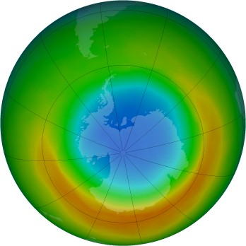 Antarctic ozone map for 1980-10