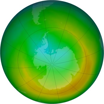 Antarctic ozone map for 1980-11