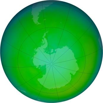 Antarctic ozone map for 1981-01