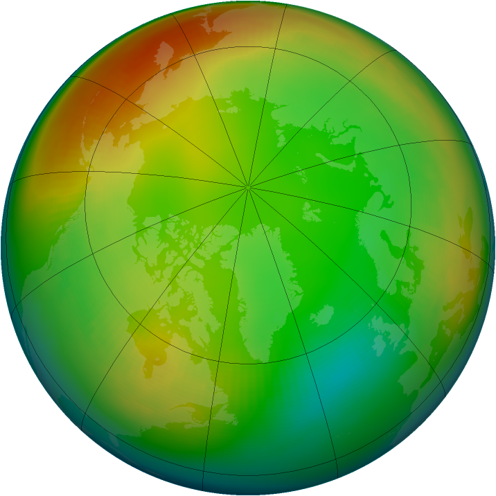 Arctic ozone map for January 1981