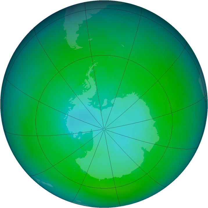 Antarctic ozone map for February 1981