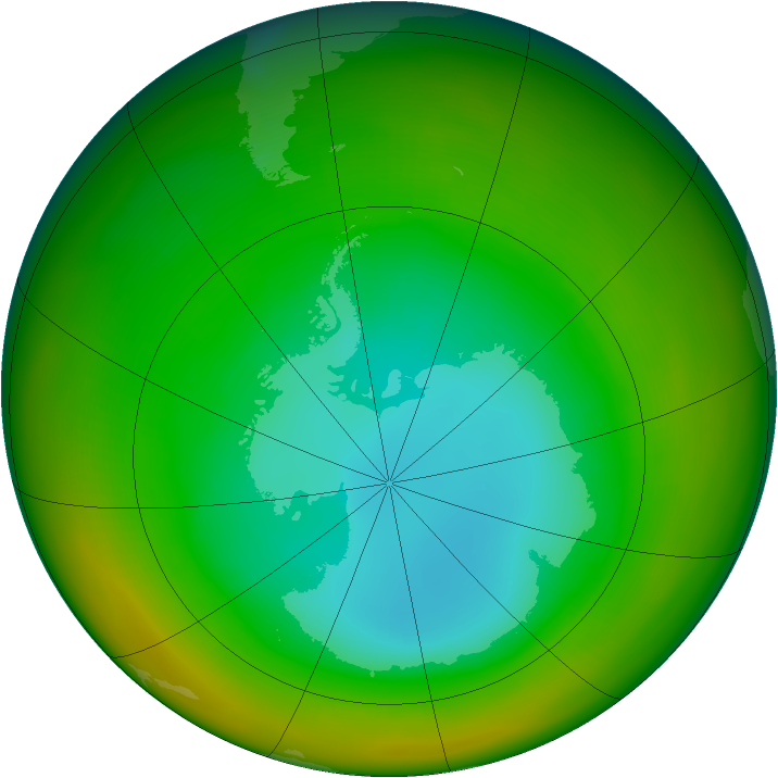 Antarctic ozone map for August 1981