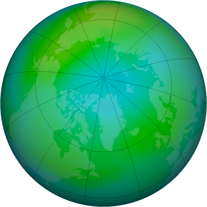 Arctic ozone map for October 1981