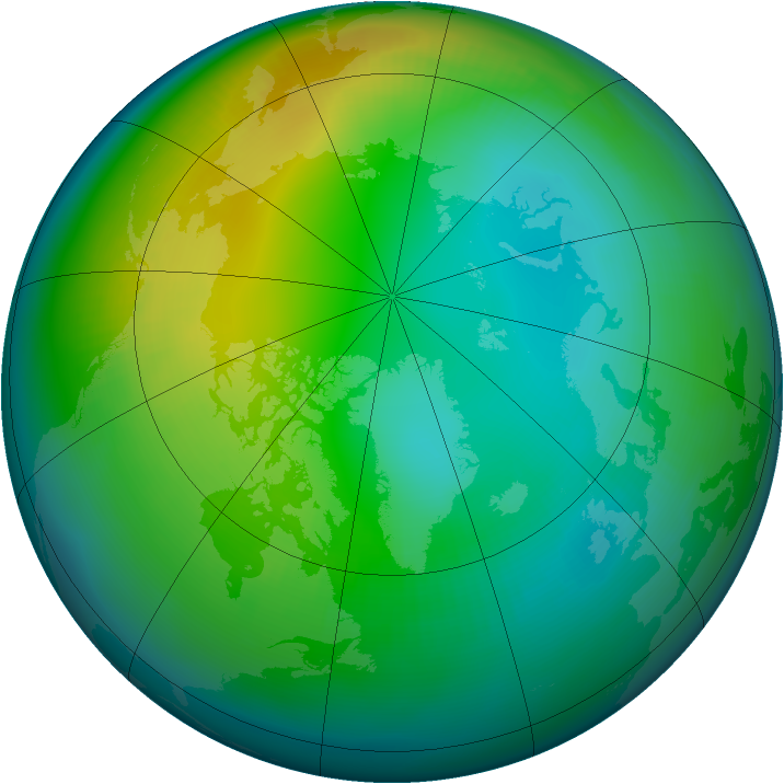 Arctic ozone map for November 1981