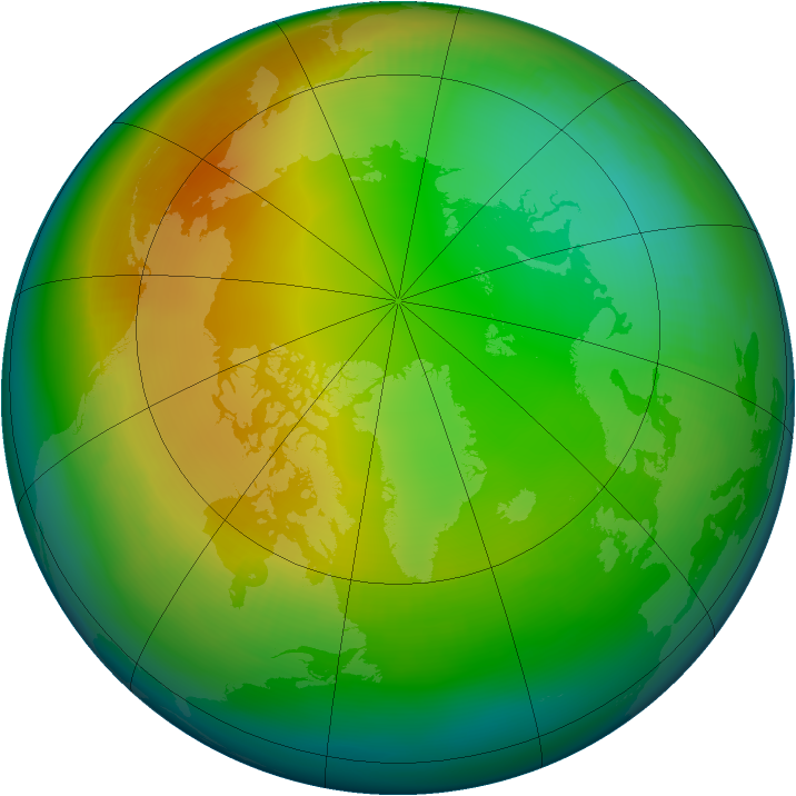 Arctic ozone map for December 1981