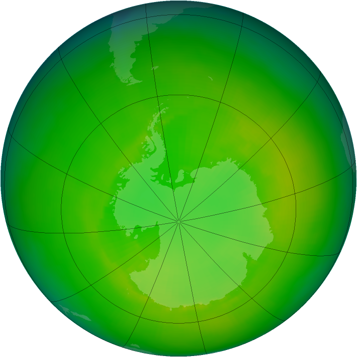 Antarctic ozone map for December 1981