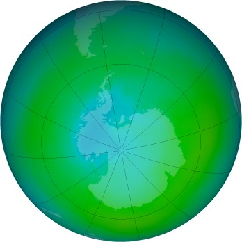 Antarctic ozone map for 1982-02