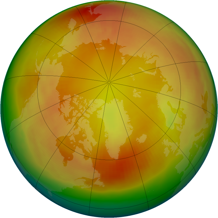 Arctic ozone map for February 1982