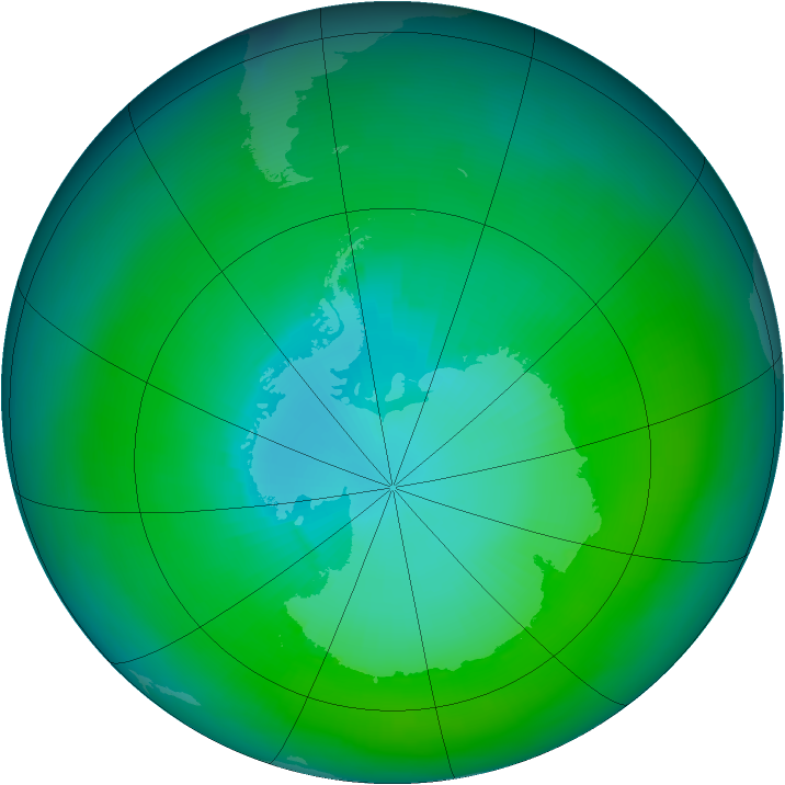 Antarctic ozone map for February 1982