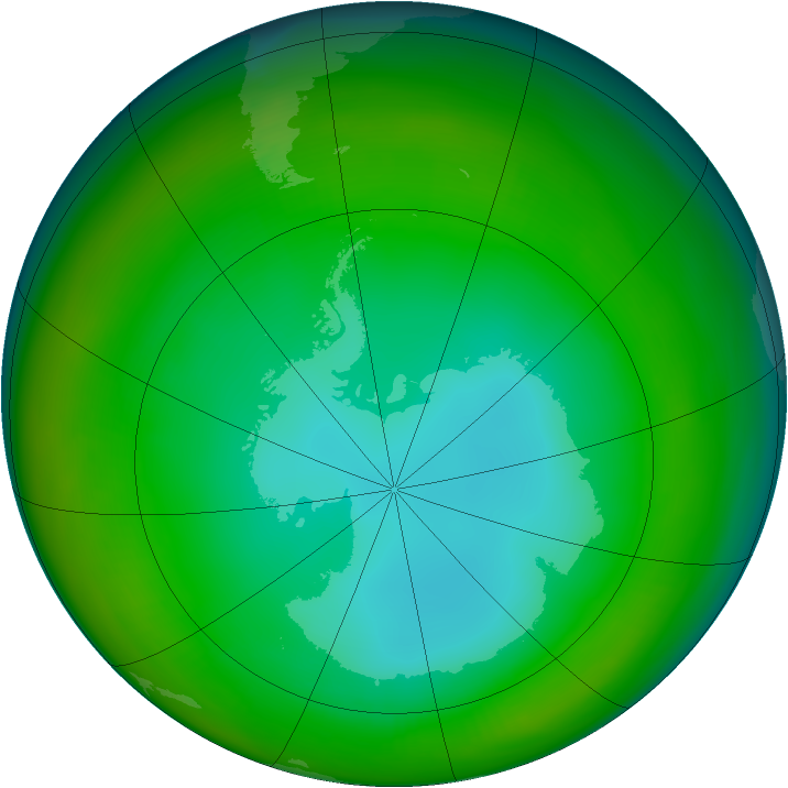 Antarctic ozone map for July 1982