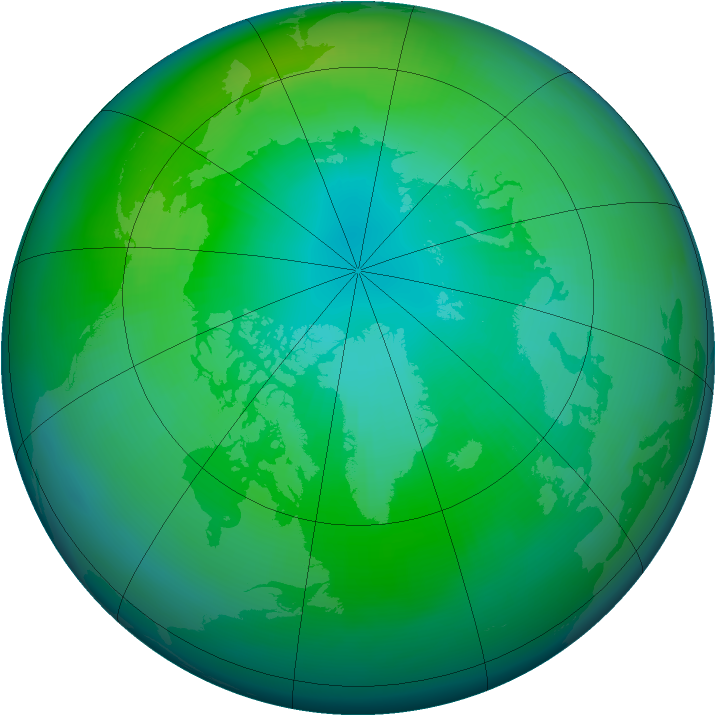 Arctic ozone map for October 1982