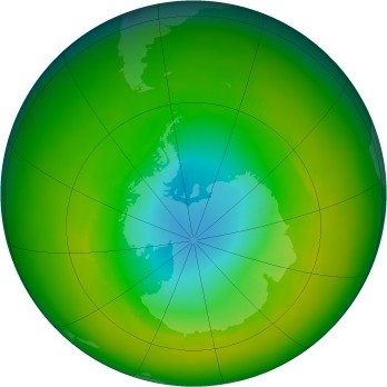 Antarctic ozone map for 1982-11