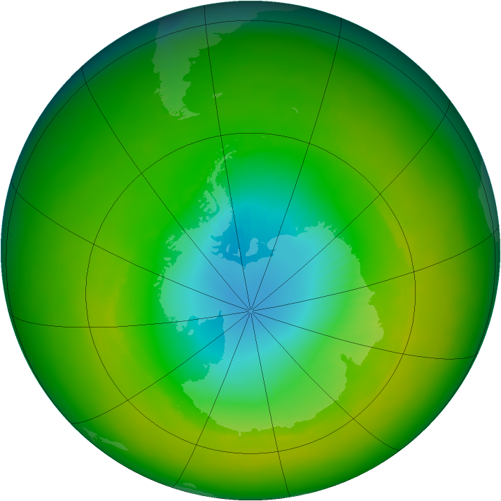 Antarctic ozone map for November 1982