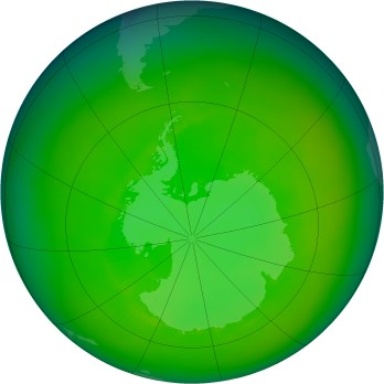 Antarctic ozone map for 1982-12