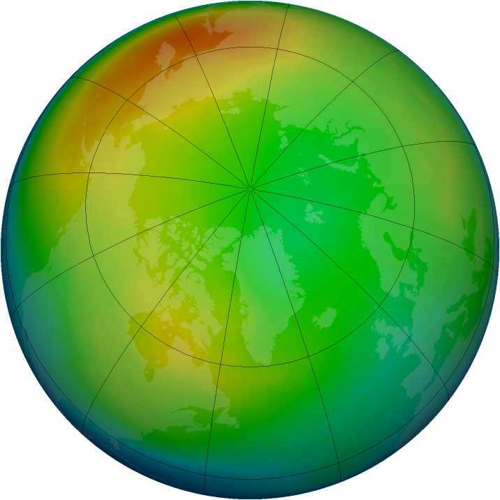 Arctic ozone map for January 1983