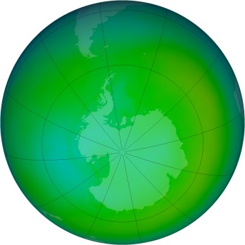 Antarctic ozone map for 1983-01