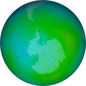 Antarctic ozone map for 1983-02