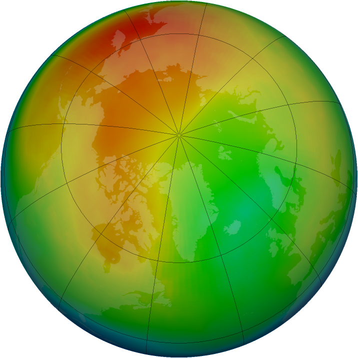 Arctic ozone map for February 1983