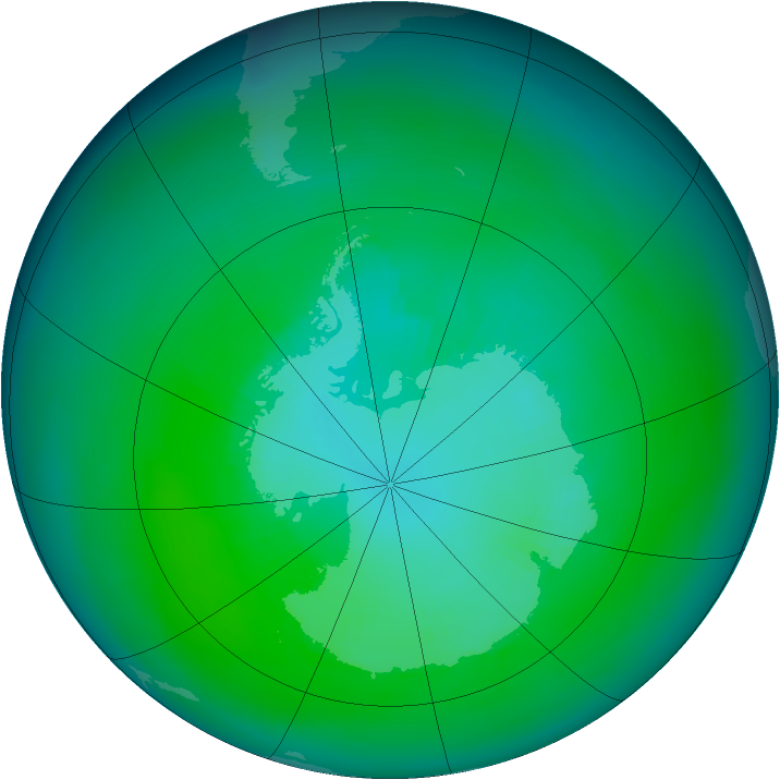 Antarctic ozone map for March 1983