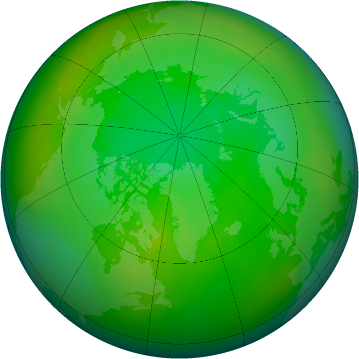 Arctic ozone map for July 1983