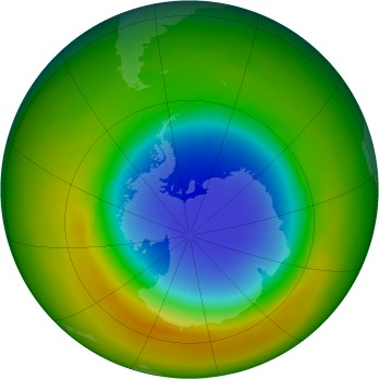 Antarctic ozone map for 1983-10