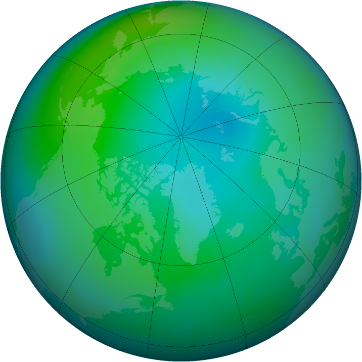 Arctic ozone map for October 1983